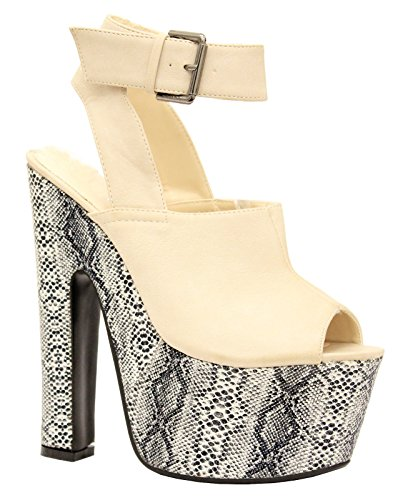 Saute Styles Stiletto Chaussures Talon Plate-forme compensée Strass Chaussures Femme Nude Faux Leather Snakeskin Platform