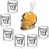Mvpower Skull Head Bottiglia Teschio Con Bicchieri Cristalli In VetroDisegno Moderno Regalo Glass Decorazione Creativa Halloween Per Liquore Birra Vino