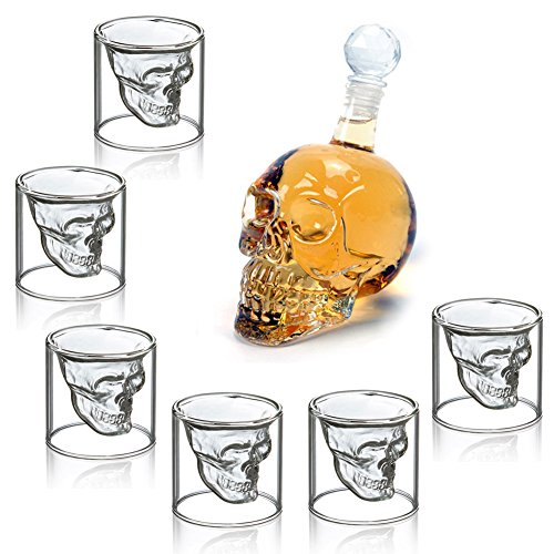 MVpower 350ML Bouteille de Vin Crane de Crystal Carafa a Decanter Whisky Vodka+ 6 Verre Tete de Mort Headskull Glass