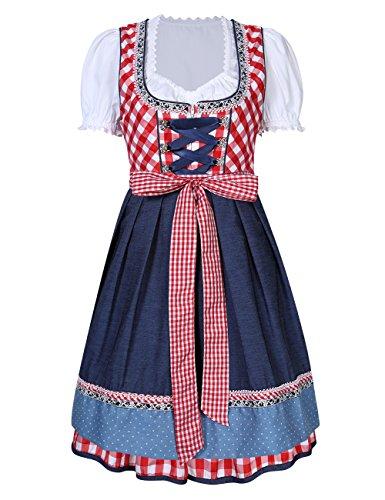 KoJooin Trachtenkleid midi Dirndl Set 3 Teilig mit Bluse Schürze Damen Kleid für Oktoberfest (38, (Lace Kostüme Sleeve Short)