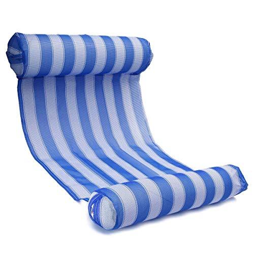Hamac Gonflable, OUTERDO Lit Gonflable pour Piscine Bouée et Matela Gonflable Chaise Longue Gonflable Piscine de Luxe pour L'été Bleu