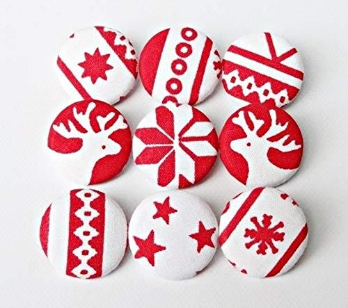 9 Stoffknöpfe 23mm Weihnachten Mix Scandinavien