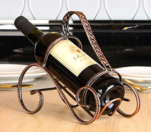 Coupon Matrix - wine holder Red Wine Rack Artistic Red Wine Rack Vintage Iron Decoration Home Simple Metal Wine Bottle Display Stand Wine Racks (Size : 1)