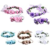 SZTARA Fashion Flower Garland Handmade Fabric Rose Beaded Wedding Party Ribbon Headband Wrist Band Set for Teens Brides Bridemaid Girls
