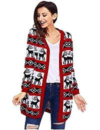 Maglioni di Maglia Donna Manica Lunga ,SheShy Cardigan stampato Maglione di Natale delle donne,Giuntura Maglione Pullover Lunga Sciolto Maglieria Tops Autunno Inverno