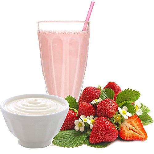 Joghurt Erdbeer Geschmack Proteinpulver Vegan mit 90% reinem Protein Eiweiß L-Carnitin angereichert für Proteinshakes Eiweißshakes Aspartamfrei (1 kg)