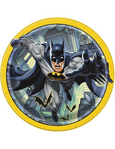 KULTFAKTOR GmbH Batman-Pappteller Lizenzartikel 8 Stück gelb-grau-schwarz 23cm Einheitsgröße - Grau Pappteller Und Gelb