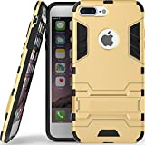 RE Mobile Accessories Heavy Duty D3 Robot Kickstand Cover Shockproof Militray Grade Armor Defender Series Dual Protection Layer Hybride TPU + PC Kickstand Back Cover for (Golden) Apple i5 &5g SE