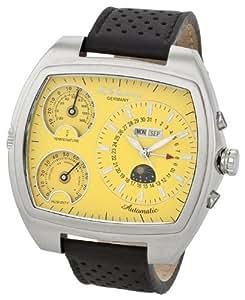 M. Johansson NaronaLSY montre pour homme XXL automatique possédant un boîtier en acier inoxydable et un bracelet en cuir avec affichage de la température