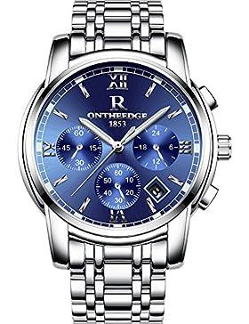 XLORDX Herren Armbanduhr Elegant Quarzuhr Uhr Chronograph Datum klassisch Edelstahl Silber Blau