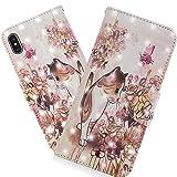 HMTECH iPhone XR Hülle Luxus 3D Cute Walking Cat Blumen Flip Standfunktion Karten Slot Magnetverschluß Brieftasche Schalen Handy Ledercase für iPhone XR,Walking Cat