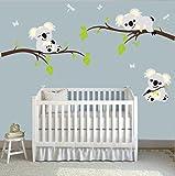 ufengke® Karikatur Tiere Koala Grün Geäst Wandsticker, Babyzimmer Kinderzimmer Entfernbare Wandtattoos Wandbilder