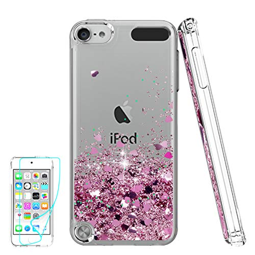 iPod Touch 6 Fall, iPod Touch 5 Fall mit HD Displayschutzfolie für Mädchen, atump [Love Herz Serie] Liquid Glitter Bling TPU Transparent Phone Cover für Apple iPod Touch 6./5. Generation, Rose