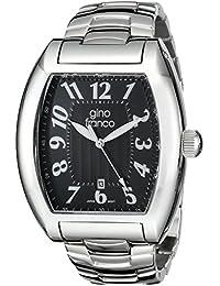 gino franco Men's 9643BK Barrel Shaped Stainless Steel Bracelet Watch