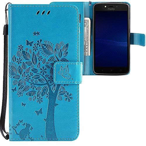 CLM-Tech Motorola Moto C Plus Hülle, Tasche aus Kunstleder, Baum Katze Schmetterlinge blau, PU Leder-Tasche für Moto C Plus Lederhülle