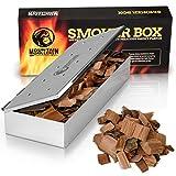 Räucherbox für BBQ aus Edelstahl - Smokebox für EIN Tolles Aroma Beim Grillen - Für Gasgrill, Kohlegrill und Holzgrill - Räucherzubehör Für Barbecue - mit Klappdeckel – Universal Geschenk für Männer