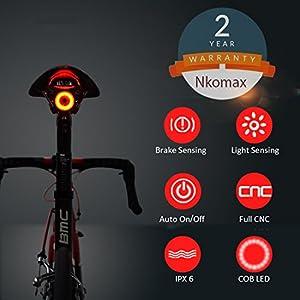 Luz de cola para bicicleta inteligente Ultra brillante, luz de bicicleta recargable, encendido / apagado automático, luces de bicicleta LED impermeables IPX6