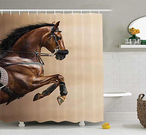 LZHsunni88 Animal Decor Collection, Chestnut Color Horse Jumping in a Hackamore Life Force Power and Honor Love Sign Print, Polyester Fabric Bathroom Shower Curtain, 75 inches Long, Brown Cream