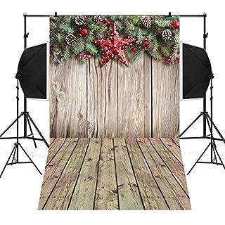 TAOtTAO Christmas Backdrops Tree Vinyl 3x5FT Fireplace Background Photography Studio (S 90x150cm)