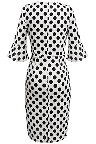 Damen Polka Dots Kleid Pencil Bleistift Kleid Cocktail Abendkleid knielang Ärmel - 3