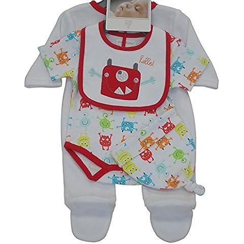 PitterPatter bambini da 0 a 6 mesi, confezione da 4, prodotto Tutina Monsters, design Beep Beep, leone, tigre, Rocket)