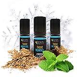 Vaps'Premium - Mentol para tabaco E-líquido - 3 x Viales de 10 ml - 00 mg - Hecho en Francia - Cigarrillo Electrónico de Recarga Líquida - Sin nicotina ni tabaco