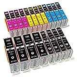 ESMOnline 20 komp. XL Tintenpatronen als Ersatz für Canon PGI-550 (Schwarz) / CLI-551 (Photoschwarz/Blau / Rot/Gelb)