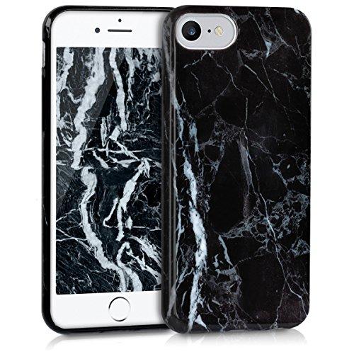 kwmobile Hülle für Apple iPhone 7 / 8 - TPU Silikon Backcover Case Handy Schutzhülle - Cover Rot matt Marmor Schwarz Weiß
