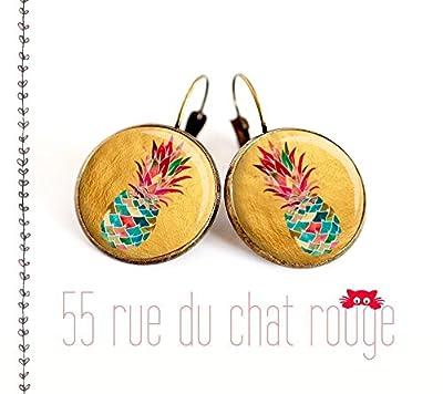 Boucles d'oreilles cabochon de verre 12/14/16/18/20 mm Ananas multicouleur fond doré finition laiton bronze