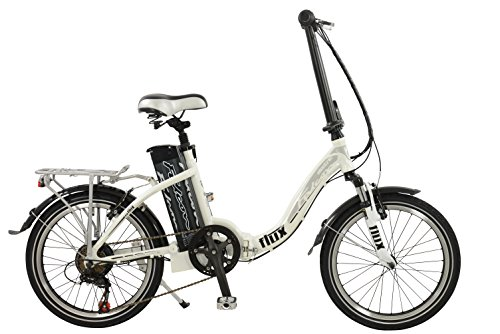 Falcon Flux Unisex Electric Bike Silver, 15″ inch aluminium frame, 6 speed easy folding low step zoom front suspension forks