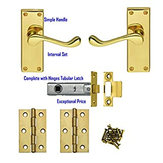 5 Sets Polished Brass Finish Victorian Scroll Door Handles Internal Set Comes with 3