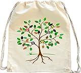Mister Merchandise Turnbeutel natur Rucksack Eulen im Baum Eule Uhu Eulenfamilie Mädchen Design Druck Beutel Tasche Natur