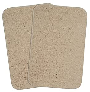 Saral Home Soft Microfiber Small Anti Slip Bathmat Set of 2pc -35x50 cm, Beige