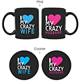 Yaya Cafe Tyyc Valentine Anniversary Gifts For Couple,Set Of 4 With Coasters, Black
