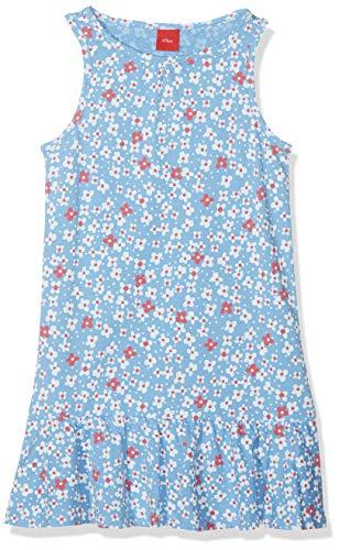 s.Oliver Mädchen 58.906.82.5518 Kleid, Blau (Light Blue Melange AOP 53a0), 110 (Herstellergröße: 110/REG)