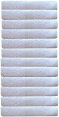 Akin Premium White Cotton 550 GSM Hand Towels Set of 12 (Length=24 inches, Width=16 inches)