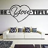 (90 x 33 cm), aus Vinyl, Wanddeko, mit Zitat-es **tiful werden mit Herz-Form Beautiful