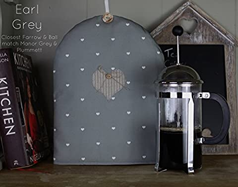 Cafetiere Coffee French Press Cosy. Shabby Chic Earl Grey Polka Dot Heart Applique fabric. Farrow & Ball inspired