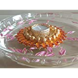 Diwali Special Traditional Floating Diya For Home Decor And Gift. Hand Crafted With Kundan And With Designer Tealight Candle Holder + 1 Tealight Wax Candle