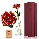 Cadeau de Fleur Rose Rouge pour Elle, Fleur Rose plaquée en Or 24K garnie d'une Longue Tige avec Support et boîte-Cadeau, Cadeau Romantique pour Le Jour de l'anniversaire de Noël de mère