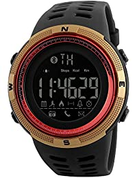 SKMEI 1250 Smart Watch Pedometer Calories Clocks Waterproof Digital Wristwatches Outdoor Sports Watches (Gold Red)