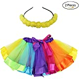 Flying Childhood Rainbow Tutu Skirt With Headband Layered Ruffle Tiered-Girls Princess Ballet Dance Dress Costumes (Rainbow)