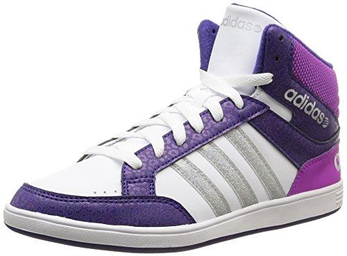 adidas Unisex-Kinder Hoops Mid Hohe Hausschuhe Ftwr White/Matte Silver/Collegiate Purple