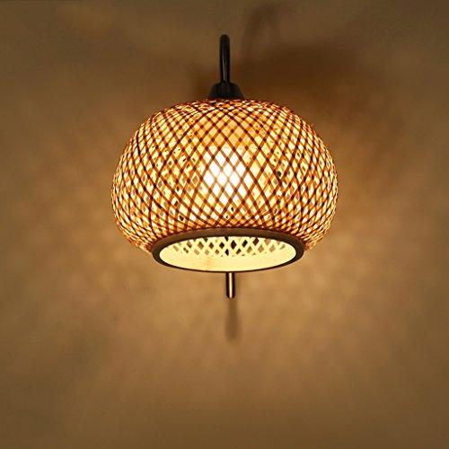 Wandleuchte Rattan/Weide Schatten/Schmiedeeisen Körper weiches Licht/hart und langlebig Persönlichkeit kreative Wandleuchte Nachttischlampe für Schlafzimmer -