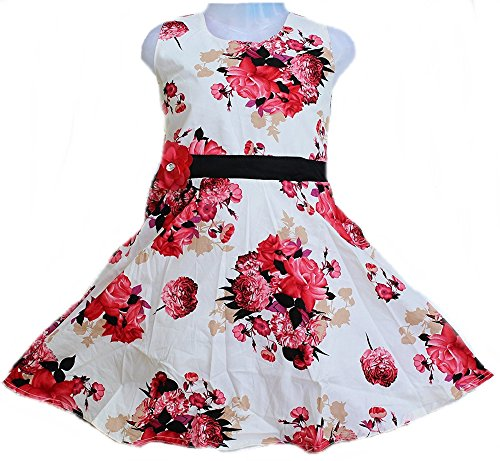 Girls daily wear Cotton dress Girls frock by Kashvi (Red, 8-9 Years)