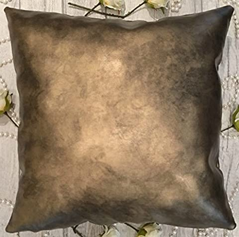 Leather cushion covers 18x18 Inch 45x45 cm (Shady Gold, 1 Piece)