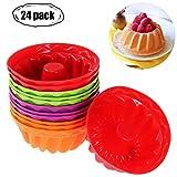 Silicone cupcake Molds–Wents 24confezione riutilizzabile antiaderente di cottura muffin arcobaleno cupcake stampi per fare muffin cioccolato pane torte gelati pudding Jelly