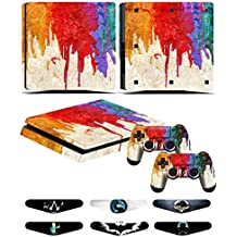Skins Stickers for PS4 Slim Controller - Decals for Playstation 4 Slim Games - Cover for PS4 Slim Console Sony Playstation Four Accessories with Dualshock 4 Two Controllers Skin - Paint