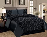 Lisa 4 Piece Damask Super Luxury Complete Set Floral Flock Duvet Quilt Cover Bedding Comforter Set - Double,king,Super King Size (King, BLACK)