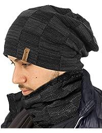 TOSKATOK® Unisex Hommes Chemise en Laine doublée Chunky Knit Slouch Beanie  Hat et Neckwarmer Snood 3761b019ef9